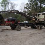 Glynn Iron crane on a flatbed trailer