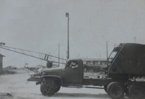 Historic scrap yard truck and crane