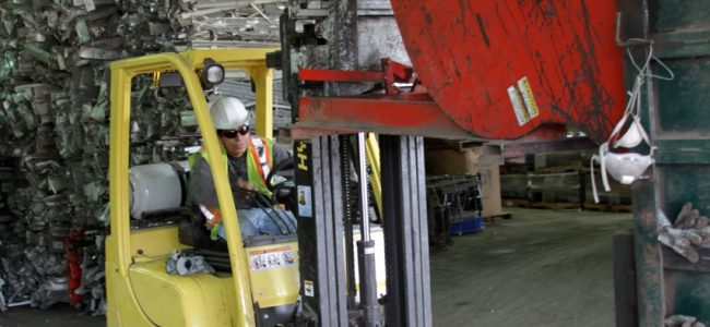 Image of scrap metal equipment - warehouse forklift